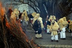 Buso festival, Mohacs, Ungern Arkivbilder