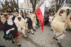 Buso-Prozession mit Flagge Lizenzfreie Stockbilder
