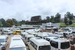 Busparkplatz in Mbabane, Swasiland, südlicher Afrika, afrikanische Infrastruktur Stockbilder