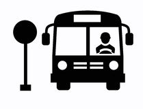 Buspictogram Stock Foto's