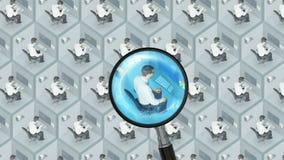 Busque y encuentre el mejor buen concepto el buscar de trabajo de la hora de los recursos humanos del personal de oficina del tra stock de ilustración