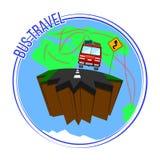 Busreis rond de wereld Vector illustratie Stock Afbeelding