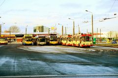 Buss del carrello della città di Vilnius nella città di Nord del distretto di Zirmunai Immagini Stock