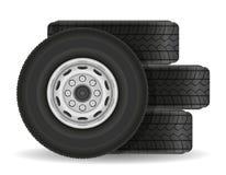 Buss- eller lastbilhjulet lagerför vektorillustrationen vektor illustrationer