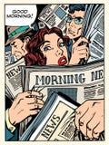 Buss för transport för tunnelbana för folkmassa för morgonnyheternapress stock illustrationer