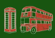 Buss och telefon Fotografering för Bildbyråer
