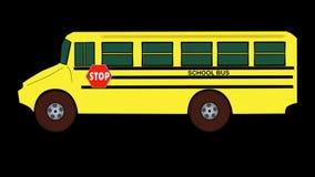 Buss-Resande-Alfabetisk-genomskinlig bakgrund för skola stock video