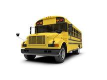 buss som isoleras över vit yellow för skola Arkivbilder