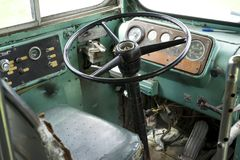 Buss steering wheel. Photo of a old bus steering wheel Royalty Free Stock Photos