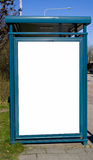 Buss stop with blank advertising sign. An image of a buss stop with a blank sign with room for text Stock Images