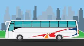 Bussa på vägillustrationen med stadsbakgrund stock illustrationer