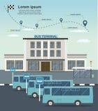 Bussar på den slutliga stationen för buss Trans.infographics vektor illustrationer