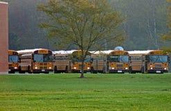 bussar parkerad skola Arkivfoton
