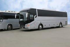 bussar som parkerar turisten Royaltyfria Bilder