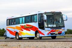 Busscar El Buss 340. O'HIGGINS, CHILE - NOVEMBER 19, 2015: Intercity coach Busscar El Buss 340 at the Pan-American Highway Royalty Free Stock Photography