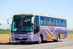 Busscar El Buss 340. SANTIAGO, CHILE - NOVEMBER 24, 2015: Coach bus Busscar El Buss 340 at the interurban freeway Stock Photos