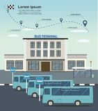 Busse an der Busendstelle Transport infographics lizenzfreie stockfotos