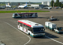 Busse für die Passagiere, die auf den Flugplatz von Domodedovo-Flughafen reisen Lizenzfreie Stockfotografie