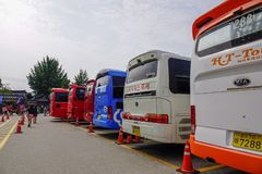 Busse holen Nami Island Touristen lizenzfreie stockbilder