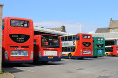 Busse am Lancaster-Busbahnhof Lizenzfreie Stockbilder