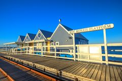 Busselton Roy Morris Platform. Busselton, Australia - Jan 1, 2018: Roy Morris Platform at Busselton Jetty in Busselton, WA, at sunset. The jetty is the longest Royalty Free Stock Images