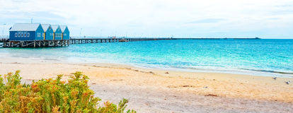 Busselton Jetty. HDR view of one longest wooden jetty - Busselton Jetty, in Geographe Bay, Western Australia royalty free stock image