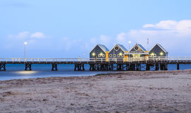 Busselton Jetty, Jetty & Houses, Western Australia. Busselton Jetty is the longest wooden structure in the southern hemisphere, also the longest wooden jetty / Stock Images