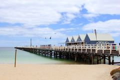 Busselton Jetty, the longest jetty of the southern hemisphere, Australia. Busselton Jetty in the Indian Ocean, Western Australia. Busselton Jetty is the longest stock images