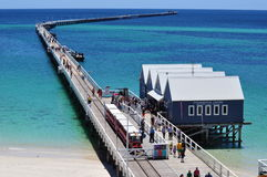 The Busselton Jetty pier Western Australia with train Stock Images