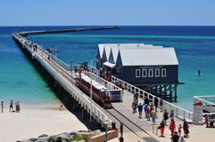 The Busselton Jetty pier Western Australia with train Royalty Free Stock Images
