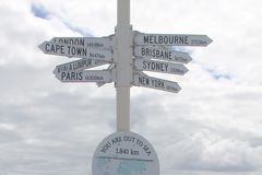 Signpost on a pier in Busselton jetty, Western Australia stock photography