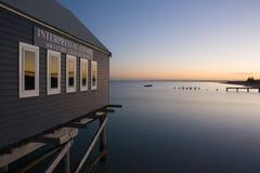 Busselton jetty. Shimmers in the early morning in light in Busselton, Western Australia, Australia Stock Photo