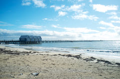 Busselton Jetty, south western Australia. Extending 1.8 kilometres across stunning Geographe Bay, the heritage listed Busselton Jetty is the longest timber-piled royalty free stock photos