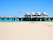 Busselton Jetty on a sunny day with tourists in front of souveni stock image