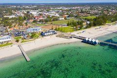 Busselton Jetty in Western Australia. Busselton Jetty, Western Australia is the second longest wooden jetty in the world at 1841 meters long stock image