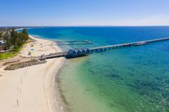 Busselton Jetty in Western Australia. Busselton Jetty, Western Australia is the second longest wooden jetty in the world at 1841 meters long royalty free stock images