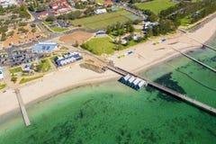 Busselton Jetty in Western Australia. Busselton Jetty, Western Australia is the second longest wooden jetty in the world at 1841 meters long stock photo