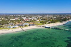 Busselton Jetty in Western Australia. Busselton Jetty, Western Australia is the second longest wooden jetty in the world at 1841 meters long royalty free stock image