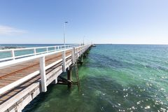 Busselton Jetty in Western Australia. Busselton Jetty, Western Australia is the second longest wooden jetty in the world at 1841 meters long royalty free stock photo