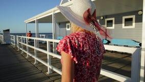 Busselton tourist woman stock video
