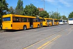 Bussen bij de terminal royalty-vrije stock fotografie