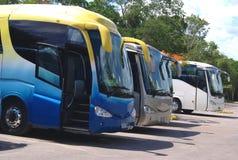bussen bussen Bussen of bussen die in een parkeerterrein worden geparkeerd Royalty-vrije Stock Fotografie
