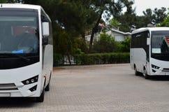 Bussen die in stad worden geparkeerd stock afbeelding
