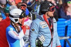 bussen en atleten tijdens de Reuzeslalom van Audi FIS Alpiene Ski World Cup Women royalty-vrije stock afbeelding