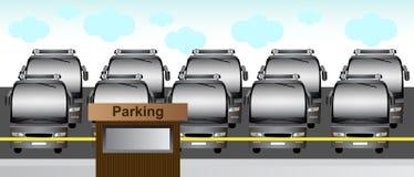 Bussen in het parkeerterrein Stock Foto