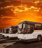 Bussen in het parkeerterrein tegen de hemel stock fotografie