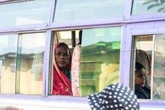 Bussen i Indien Fotografering för Bildbyråer