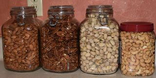 Bussen met noten worden gevuld die stock fotografie