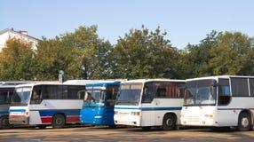 Bussen op parkeren royalty-vrije stock fotografie