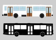 bussen Rode en witte bus En zwart silhouet Stock Afbeeldingen